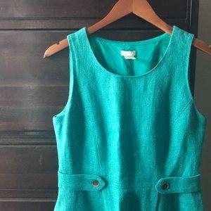 J Crew, green linen dress, size 4